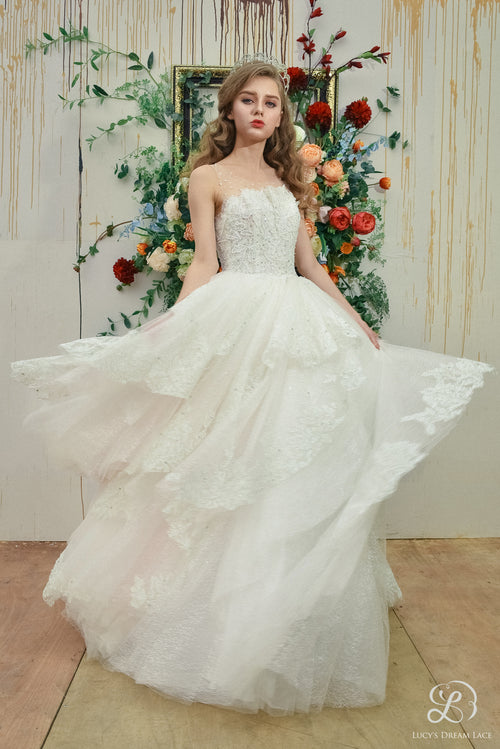 """WATERFALL OF WONDERS"" Cascading Lace Art Wedding Dress"