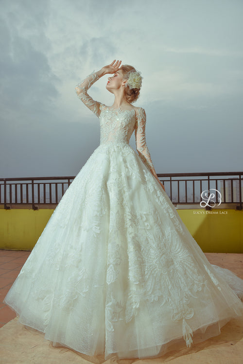 """ORIENTAL FLORALS"" Crystal-Embellished Wedding Dress"