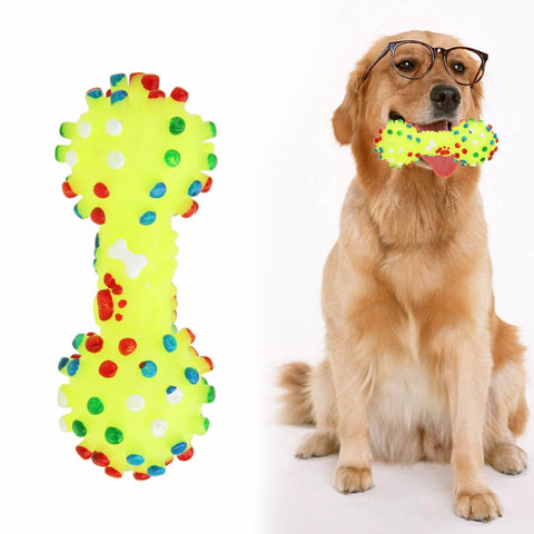 Dog Toys  Colorful Dotted Dumbbell Shaped Dog Toys Squeeze Squeaky Faux Bone Pet Chew Toys For Dogs