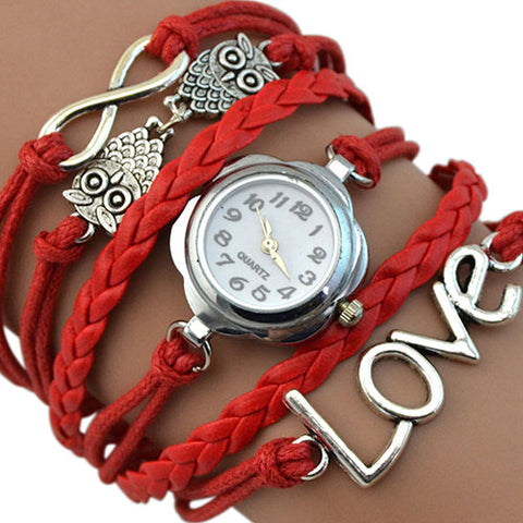 Infinity Love Owl Leather Bracelet Watch