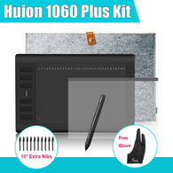 Huion 1060 Plus Graphic Digital Tablet w/ 8G SD Card 12 Express Key +Protective Film + Parblo Glove