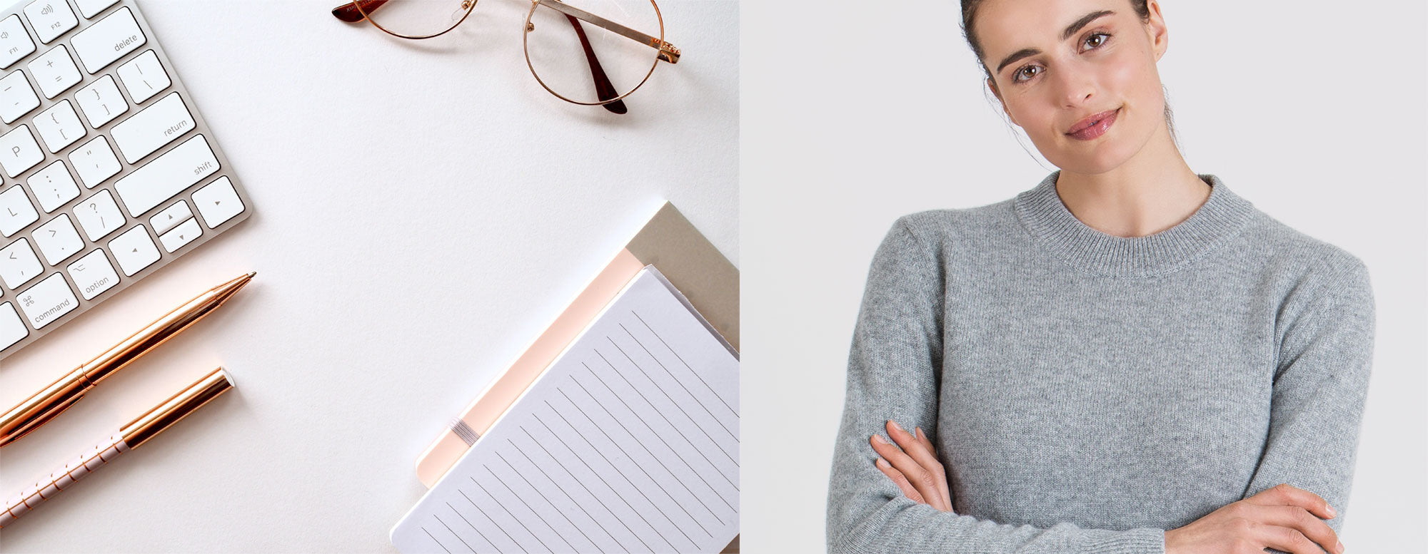Office wear, in 100% pure cashmere.