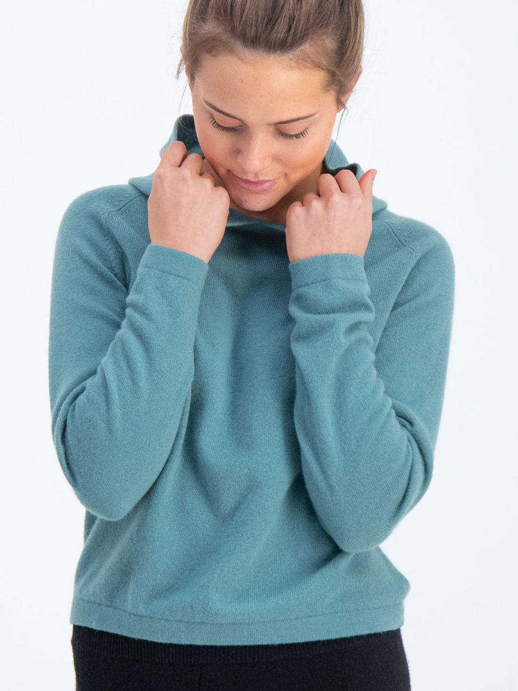 kashmina hoodie arctic blue green cashmere sweater sustainable norwegian design