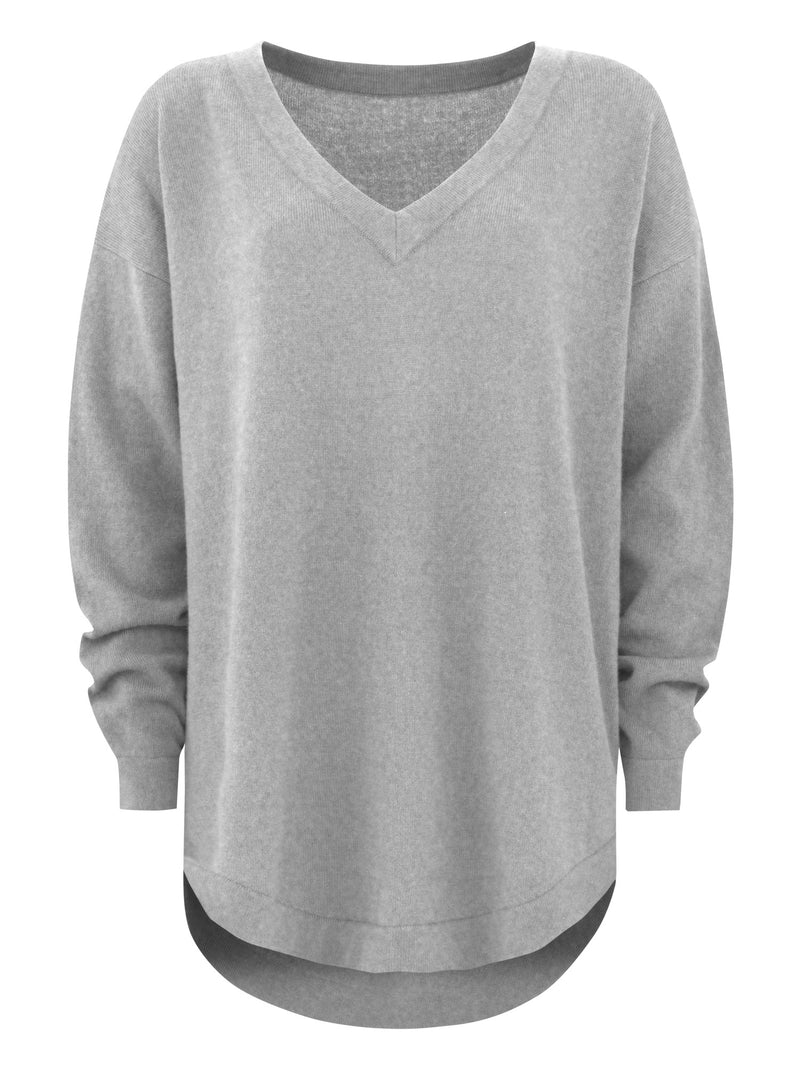 "Cashmere sweater ""V"" - grey"