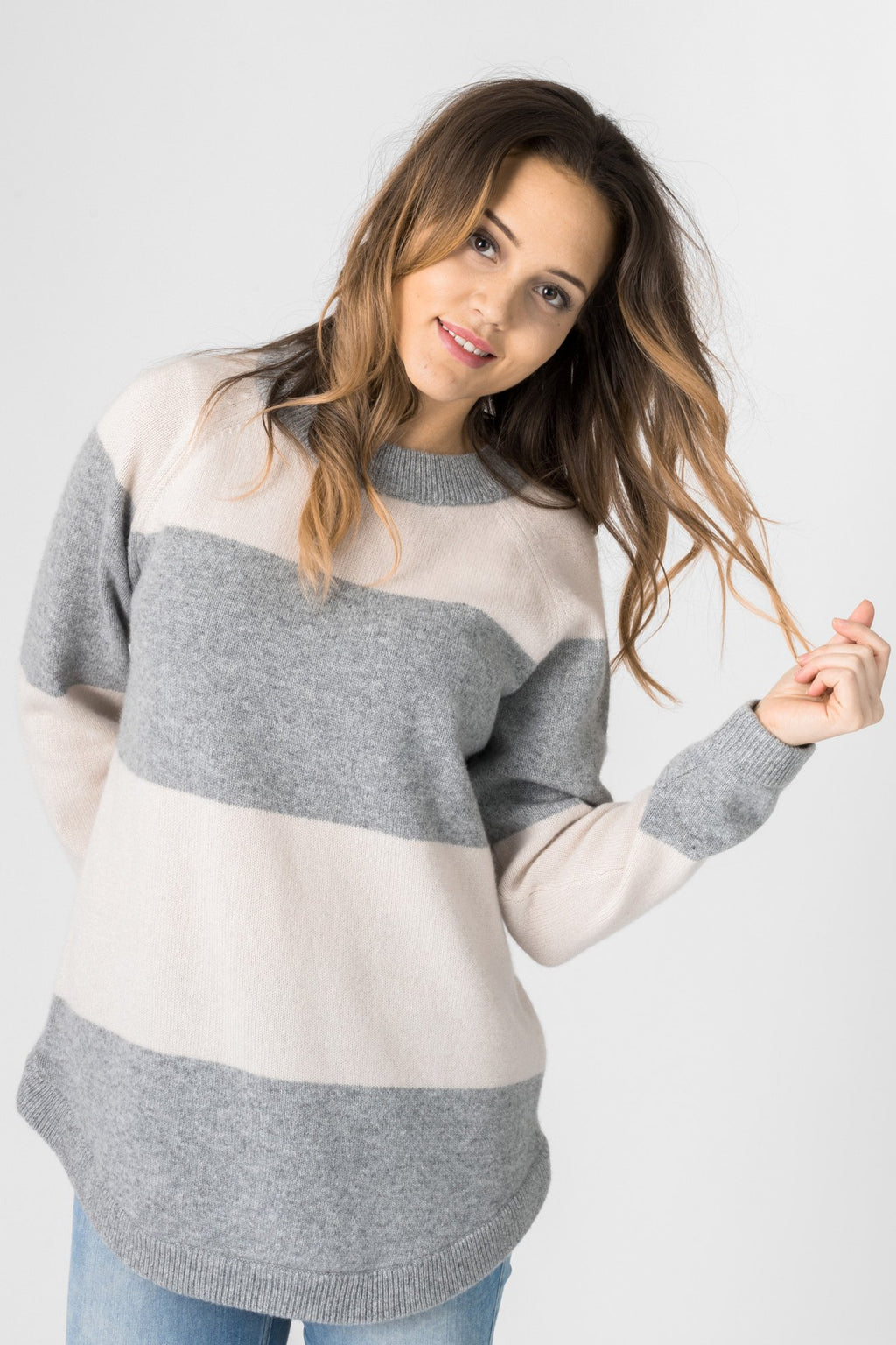 "Cashmere sweater ""Jannikesweater"" - shell/grey"