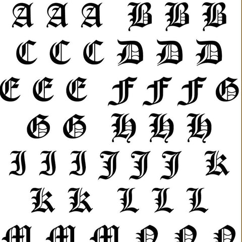 Old English Alphabet Decals - CLEAR