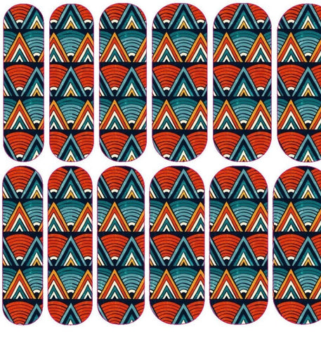 Blue and Red African Print Decals