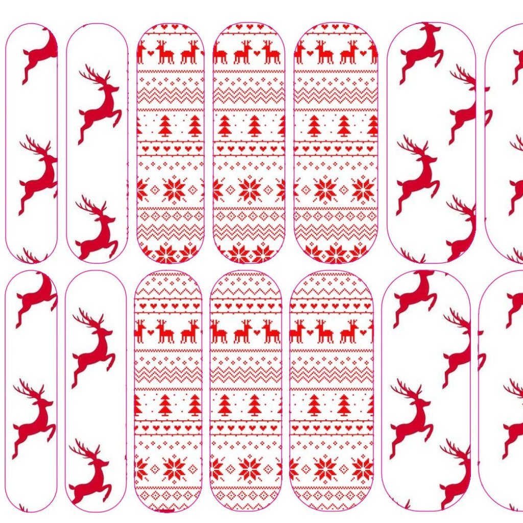 Red & White Fair Isle Decals