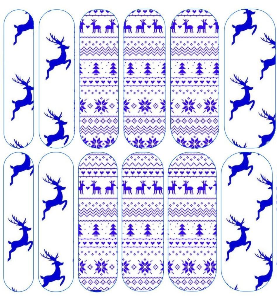 Blue & White Fair Isle Decals