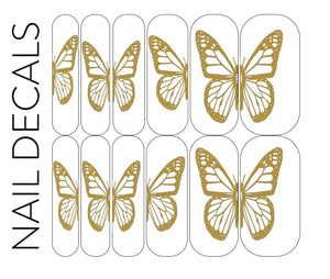 Gold Effect Butterfly Decals - CLEAR