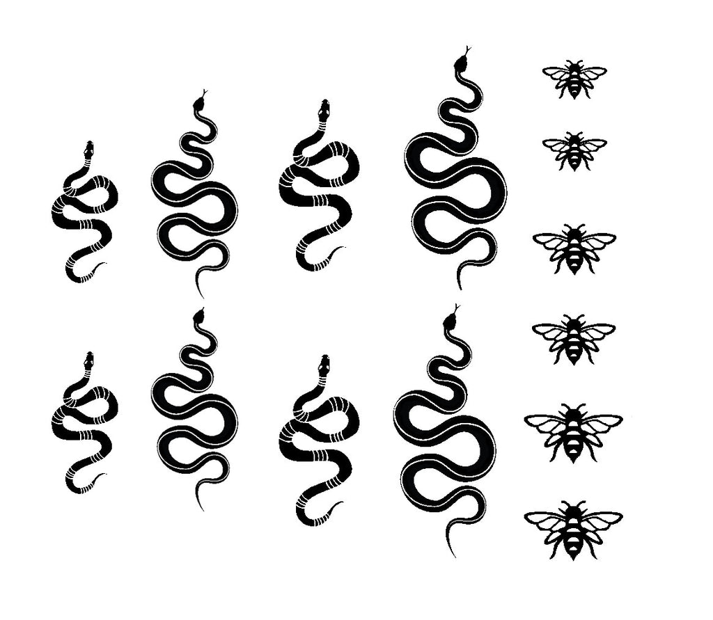 Black Snakes & Bees Decals