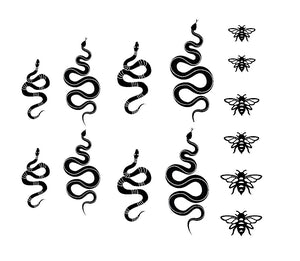 Black Snakes & Bees Decals - CLEAR