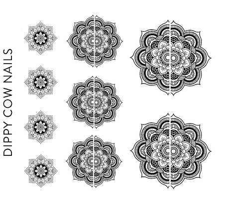 Black Mandala Decals - CLEAR