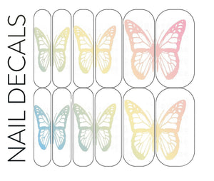 Pastel Butterfly Decals - CLEAR