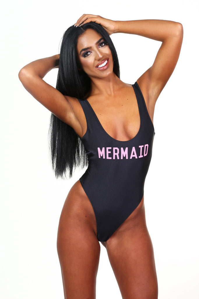 Pool Party Mermaid Black Swimsuit