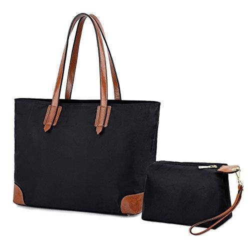 64ebab92afa2 YALUXE Womens Stylish Leather Oxford Nylon Tote Bag Set with large Wrist  Purse Travel Shoulder Bag