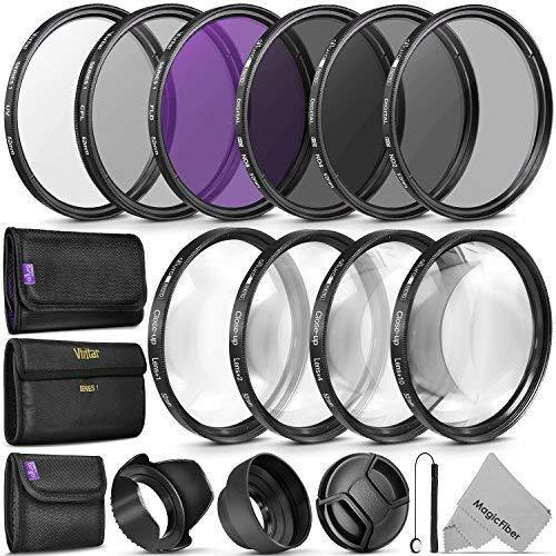 52MM Complete Lens Filter Accessory Kit (UV, CPL, FLD, ND2, ND4, ND8 and  Macro Lens Set) for NIKON D