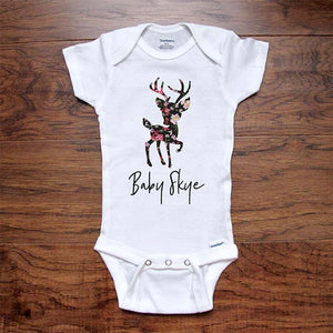 Flower Floral Deer Baby (Custom Name) - Personalized Custom - baby onesie surprise birth pregnancy reveal announcement