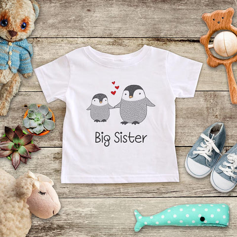 Big Sister Penguins - Infant & Toddler Super Soft Fine Jersey Shirt or Baby Onesie