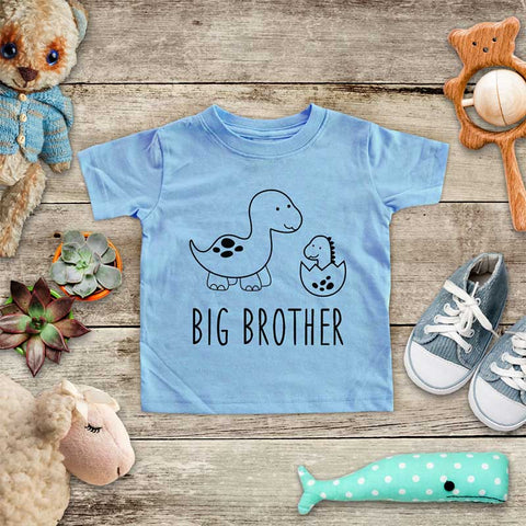 Big Brother Dinosaur with Baby Dinosaur - Baby Onesie Bodysuit Infant & Toddler Soft Fine Jersey Shirt