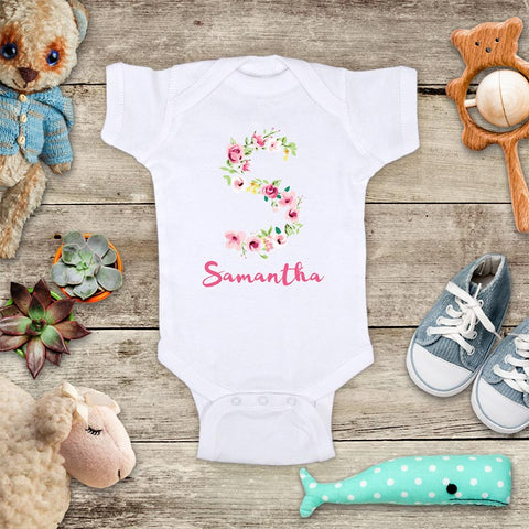 Custom Flower Initials and Name pretty baby shower baby onesie bodysuit Infant Toddler Youth Shirt