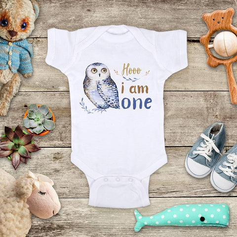 Hooo i am one Owl boho watercolor 1st First Birthday baby bodysuit Infant Toddler Shirt