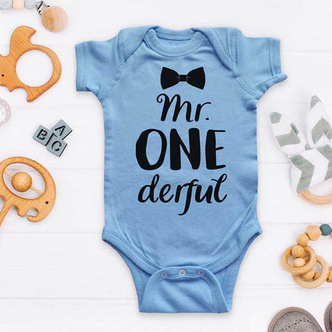 Mr ONE derful Bow Tie First Birthday Boy Outfit Baby Onesie Bodysuit Soft Shirt