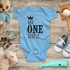 Mr ONE derful First Birthday Boy Baby Onesie Bodysuit Toddler Super Soft Fine Jersey Shirt