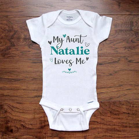 Custom personalized baby onesie My (Aunt Uncle Grandpa Grandma Sister Brother) (Name) Loves Me hearts design shower gift Infant Toddler Youth Shirt