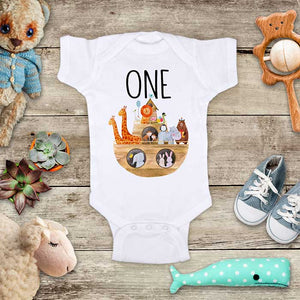 Noah's Ark ONE First Birthday zoo Animals Baby Onesie Bodysuit Infant, Toddler & Youth Soft Shirt
