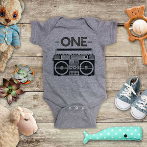 ONE Boombox Retro music First Birthday Boy Girl Baby Onesie Bodysuit Toddler Soft Fine Jersey Shirt