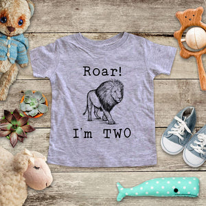 Roar I'm Two Lion - animal zoo trip Birthday Toddler Super Soft Fine Jersey Shirt