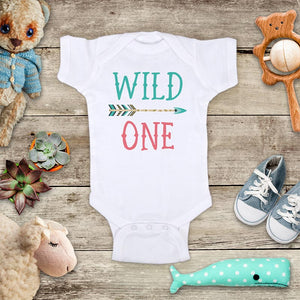 Wild One Teal and Pink or Teal and gold - hipster arrow design baby onesie bodysuit Infant Toddler Shirt Hello Handmade design 1st First Birthday Shirt