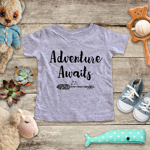 Adventure Awaits - boho camping mountains kids baby onesie shirt Infant, Toddler & Youth Soft Shirt Hello Handmade
