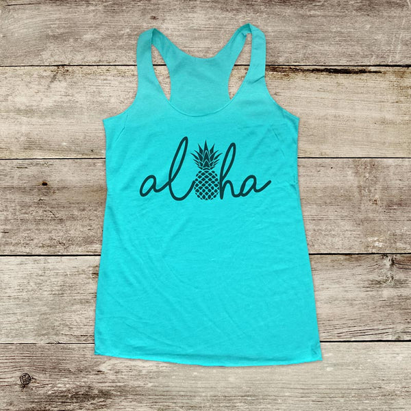Aloha Pineapple - Hawaii Vacation - Soft Triblend Racerback Tank fitness gym yoga running exercise birthday gift
