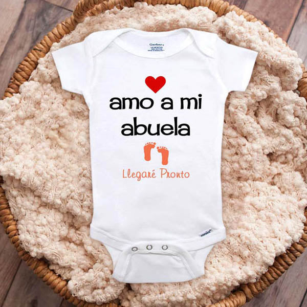 amo a mi abuela Llegare Pronto - I love my grandma coming soon Spanish baby onesie surprise mom parents