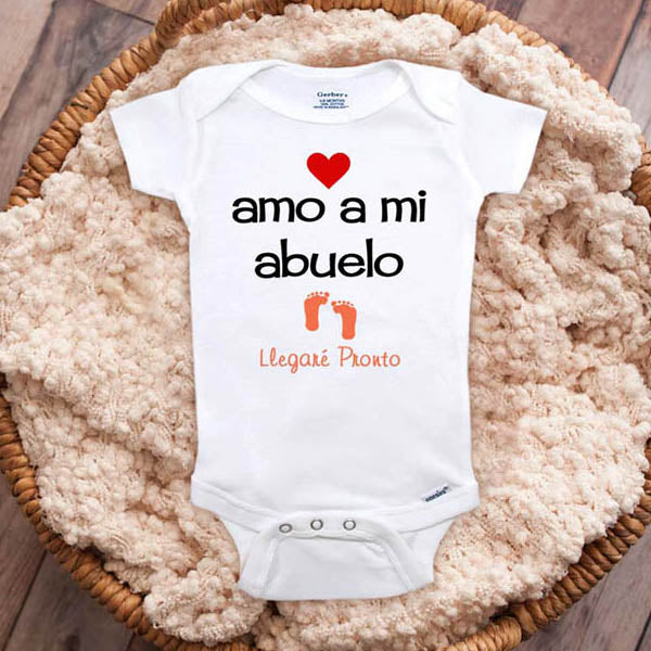 amo a mi abuelo Llegare Pronto - I love my grandpa coming soon Spanish baby onesie surprise dad parents