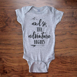 and so the adventure begins - new baby boho hipster hippie baby onesie bodysuit surprise birth pregnancy reveal announcement husband grandparents