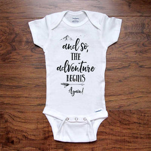 and so, The adventure begins Again! - baby onesie bodysuit birth pregnancy reveal announcement grandparents or daddy aunt uncle