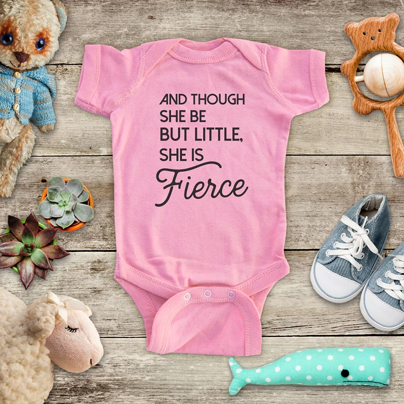 And Though She be little She is Fierce kids baby girl onesie shirt - Infant & Toddler Soft Fine Jersey Shirt