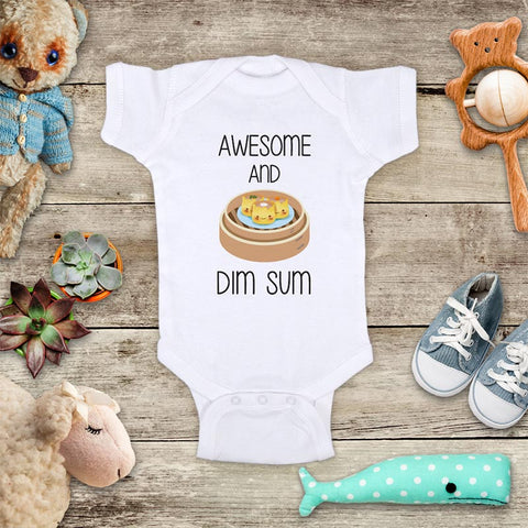 Awesome And Dim Sum funny Chinese food baby onesie bodysuit Infant Toddler Shirt Hello Handmade design baby shower gift onesie