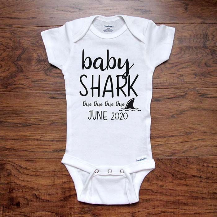 CUSTOM baby onesie - baby Shark Due Due Due Due (Custom Date) bodysuit baby coming birth pregnancy announcement surprise grandparents or daddy