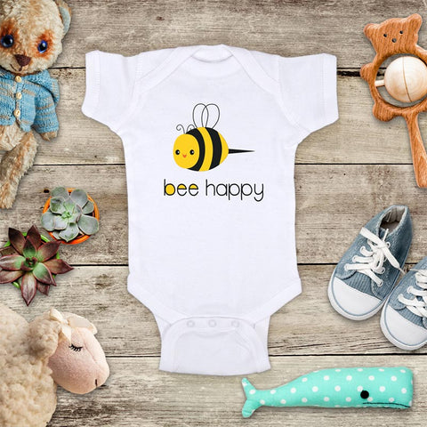 Bee happy cutee buzzing bee baby onesie bodysuit Infant Toddler Youth Shirt Baby shower gift
