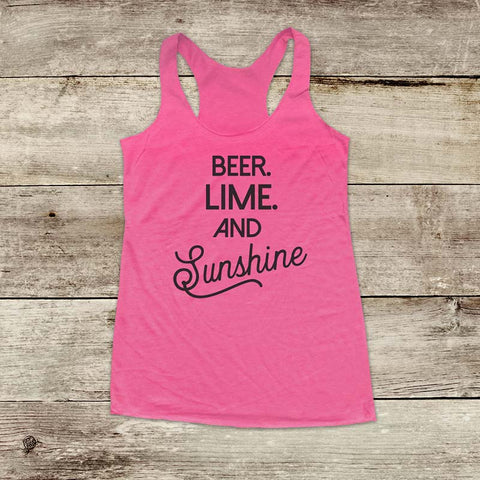 Beer Lime And Sunshine - Beach Drinking Party Soft Triblend Racerback Tank fitness gym yoga running exercise birthday gift