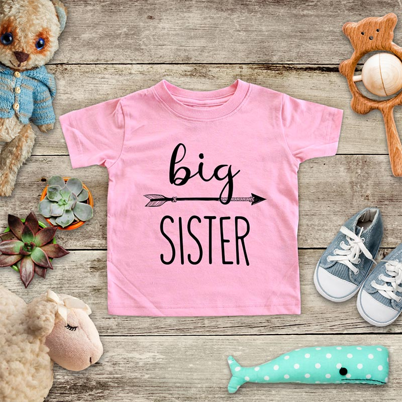 Big Sister  - hipster arrow boho design baby onesie Infant & Toddler Soft Shirt baby birth pregnancy announcement