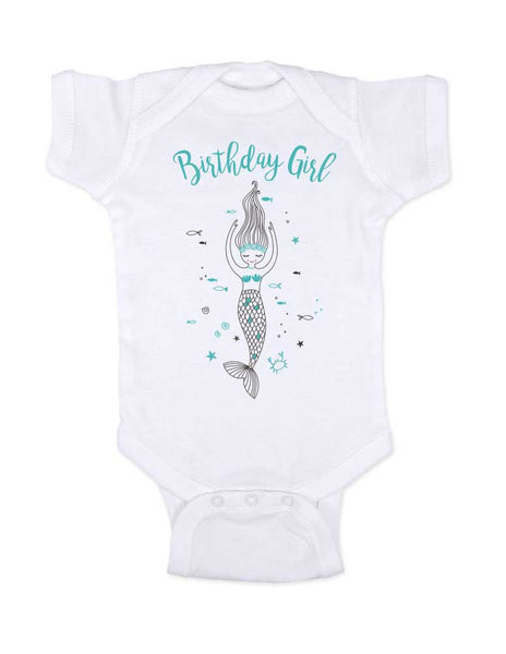 Birthday Girl Mermaid  - baby onesie Infant & Toddler Soft Shirt Birthday Girl