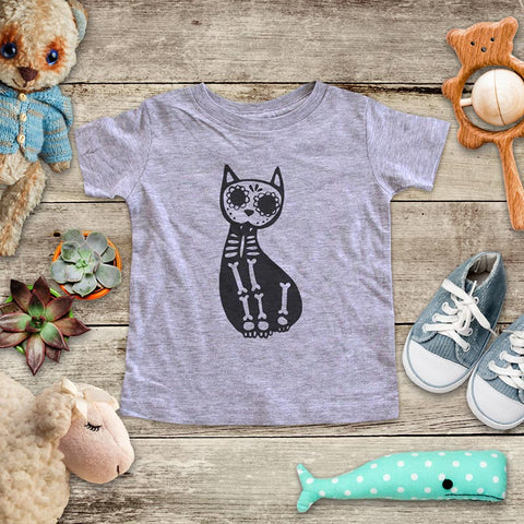 Cat Skeleton skull candy Halloween baby onesie shirt Infant, Toddler & Youth Soft Shirt