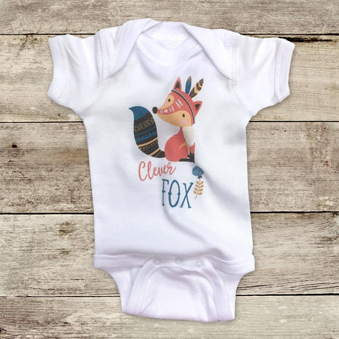 Clever Fox Boho Bohemian hipster design - Infant & Toddler Shirt or Baby Onesie