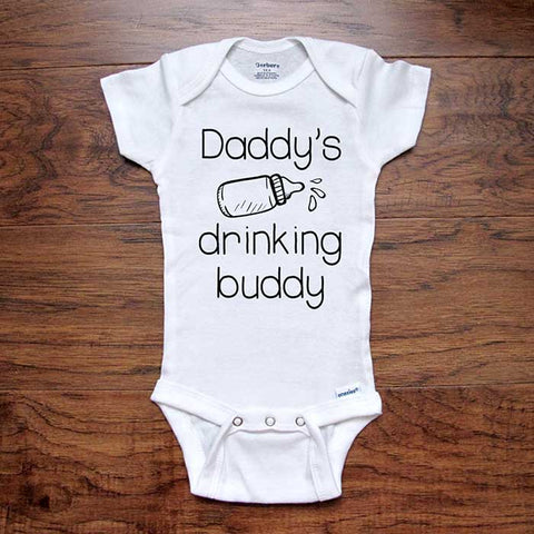 Daddy's drinking buddy (d2) - funny baby onesie bodysuit surprise birth pregnancy reveal announcement husband
