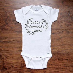 daddy's favorite human - funny boho leaves kids baby onesie shirt Infant, Toddler & Youth Soft Shirt